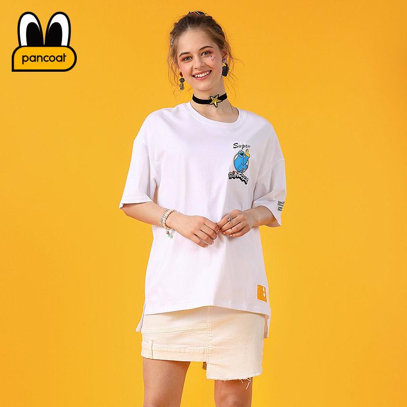 PANCOAT时尚潮牌系列女士前短后长蓝胖子T恤PCATE172451W