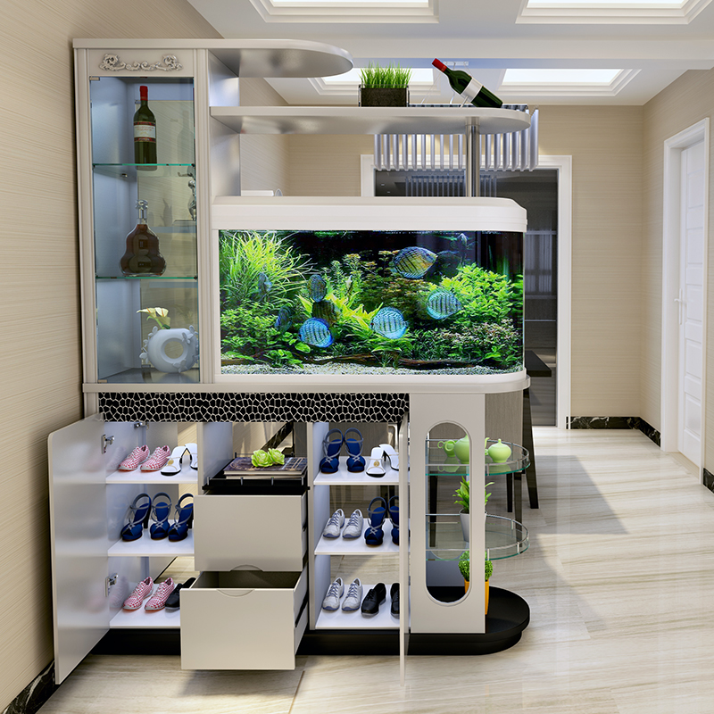 Multifunctional With Aquarium Modern Living Room And Dining Room Porch  Partition Cabinet Foyer Wine Cabinet Door Shoe Cabinet Screen Cabinet