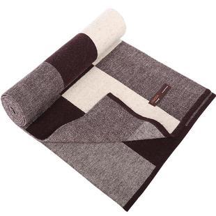 礼盒装100%纯羊毛围脖商务男士围巾春秋冬季加厚英伦格子针织披肩
