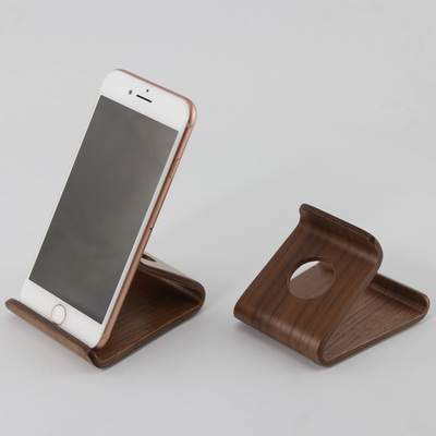 Desktop walnut lazy bracket bedside phone holder car navigation frame mobile phone accessories creative display stand base
