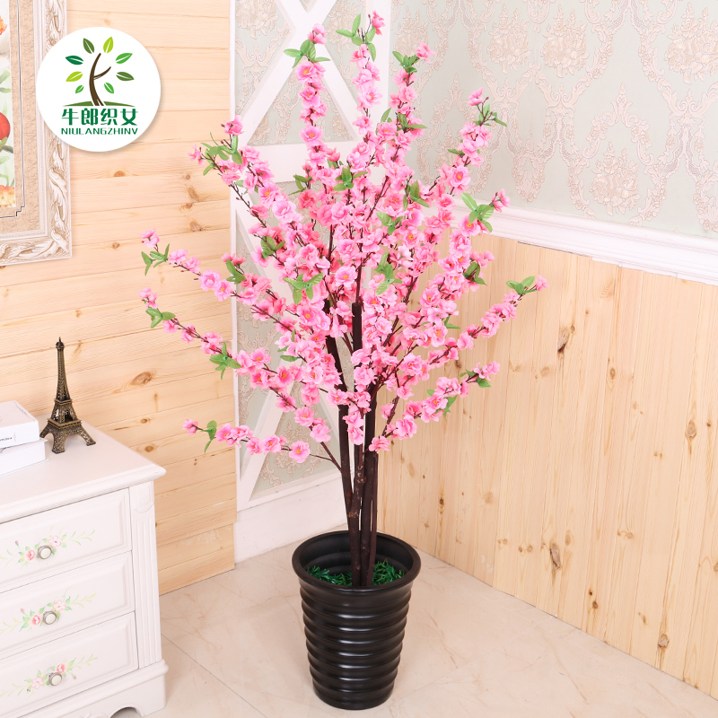 Simulation peach flower fake tree potted living room decoration ...