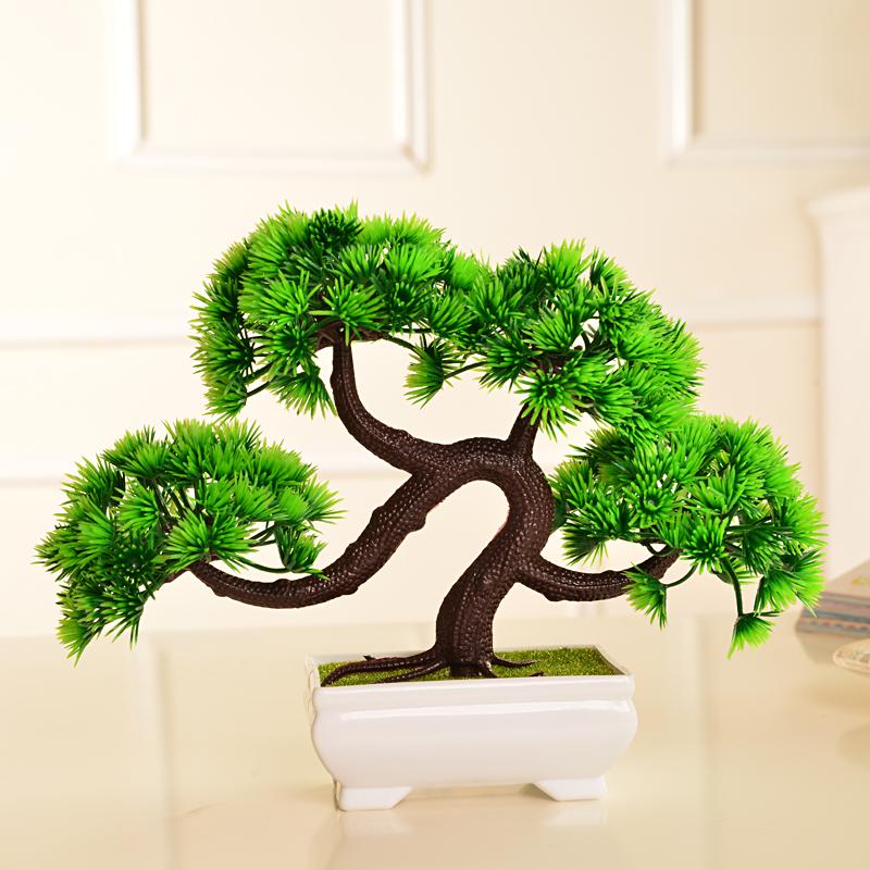 бонсай 仿真迎客松植物盆栽室内绿植小盆景桌面假花摆设家居装饰品摆件