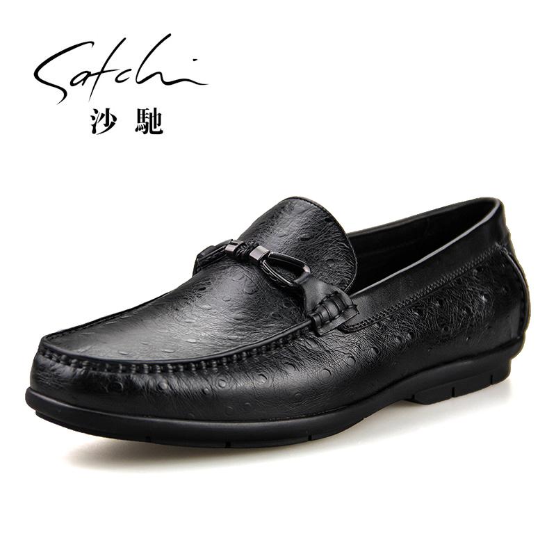 沙驰男鞋商务休闲鞋男士套脚鞋鸵鸟纹牛皮皮鞋驾车鞋