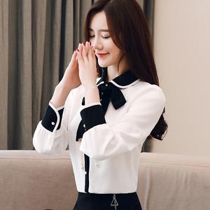 实拍2019春装新款长袖衬衫百搭系带打底衫