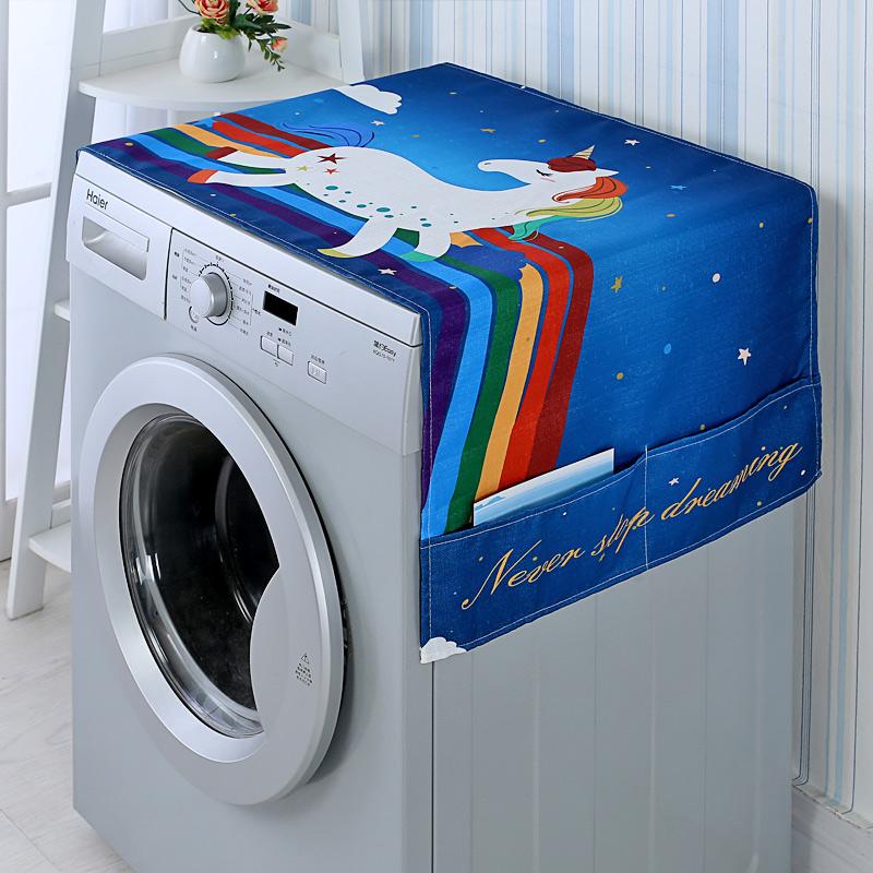 布艺滚筒洗衣机罩单开门双开门冰箱防尘罩微波炉罩床头柜多用盖巾