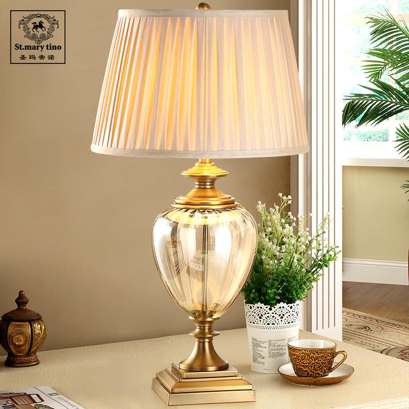美式简约台灯客厅卧室床头灯出口美国复古水晶玻璃别墅装饰大台灯