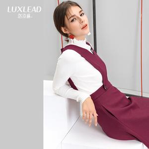 洛诗琳2017秋季新款 两穿背带裙 百搭修身V领无袖连衣裙
