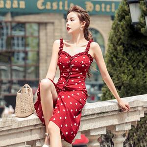 法式重工复古波点印花吊带连衣裙修身显瘦2020新款夏小性感中...