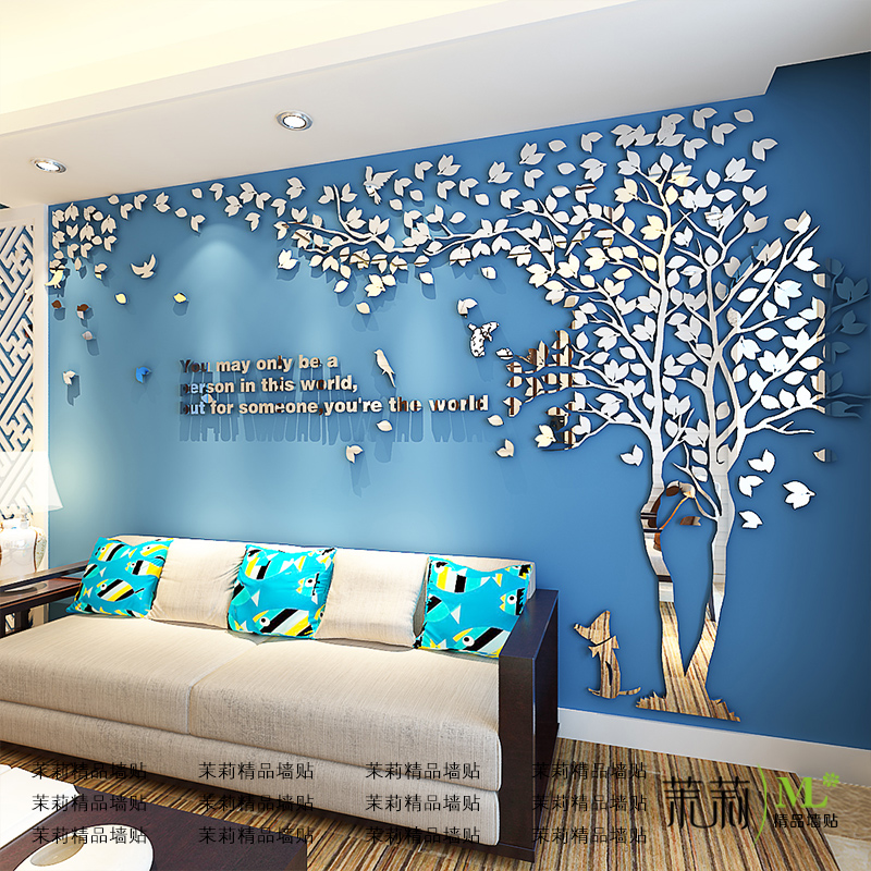 Living Room Background. Creative Tree 3d Acrylic Wall Sticker Living Room Sofa TV Background  Interior Warm Decoration