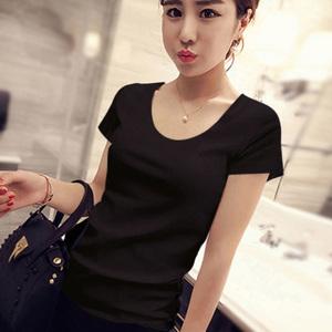 短袖女士2018新款韩版修身显瘦短款纯黑色t恤圆领学生打底衫棉质