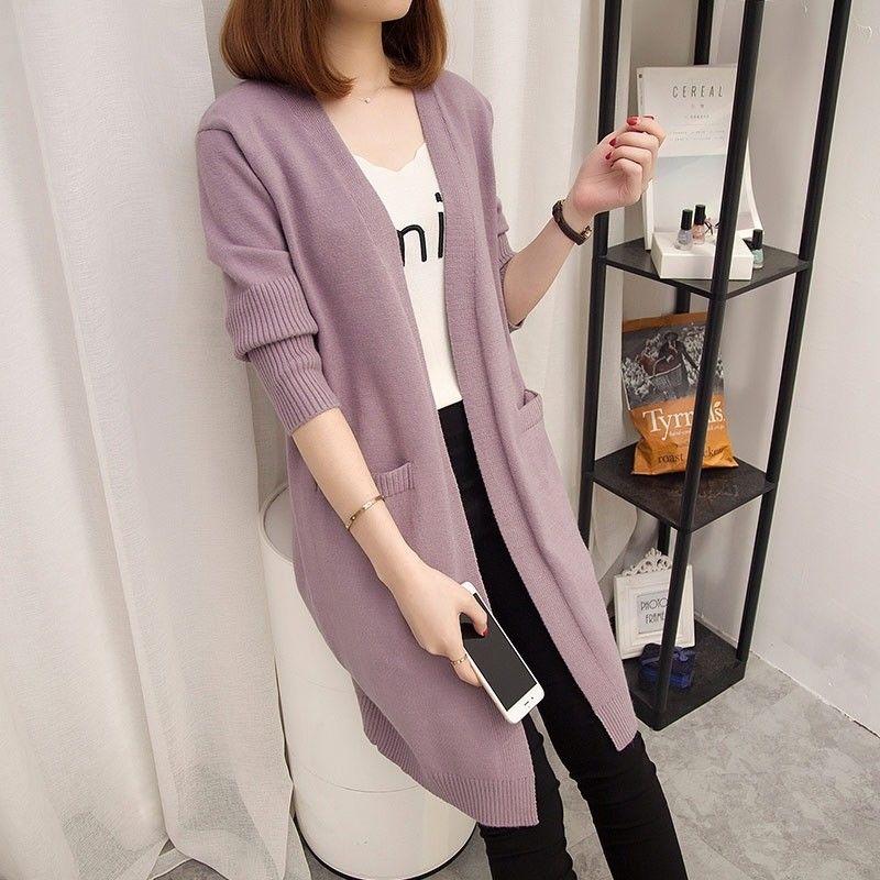 秋冬季韩版宽松中长款针织开衫毛衣外套女