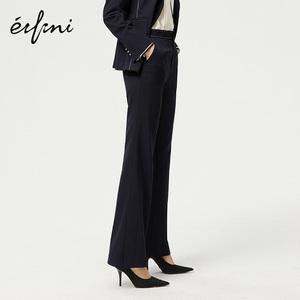 商场同款伊芙丽2020新款裤子女直筒高腰休闲裤1A8250211