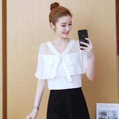 有小视频洋气女短袖亚博APP下载安装夏雪纺蕾丝小衫上衣勾花镂空欧洲站