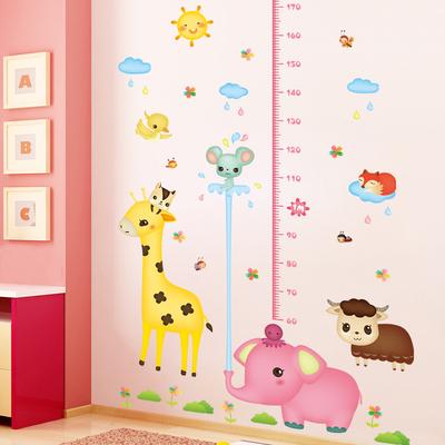 卡通儿童身高墙贴卧室装饰贴画3d立体 宝宝身高贴纸测量尺可移除