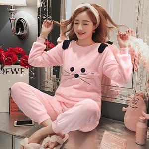 珊瑚绒睡衣女冬季加厚加绒保暖韩版女士可爱毛绒法兰绒家居服套装
