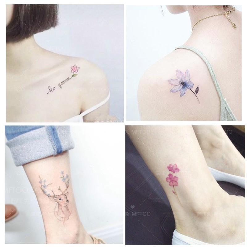 50张少女心锁骨纹身贴 防水 女持久韩国仿真小清新可爱性感樱花臂图片