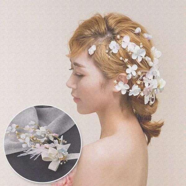 新娘当天 白纱头饰彩色花朵头饰手工羽毛发饰新娘头花 新娘饰品