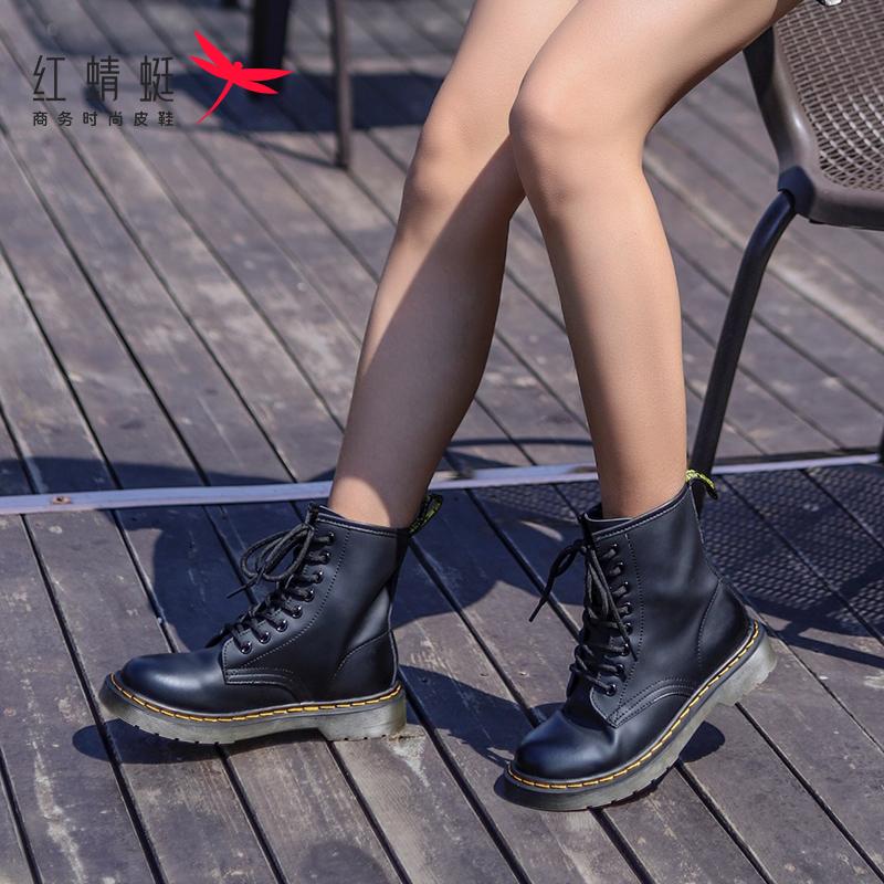 红蜻蜓女鞋春秋新款马丁靴女英伦风厚底机车短靴ins网红女靴