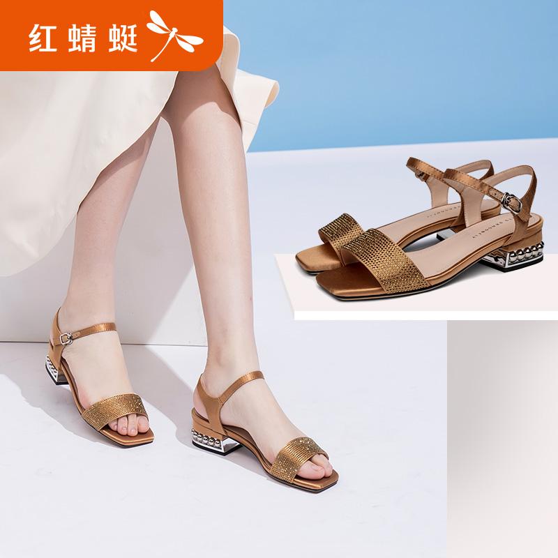 红蜻蜓凉鞋女鞋2018夏季新款一字扣凉鞋女粗跟低跟韩版水钻女凉鞋