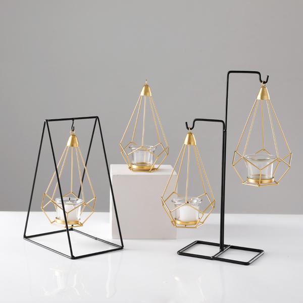 创意北欧烛台摆件 浪漫烛光晚餐道具灯铁艺蜡烛台餐桌家居装饰品