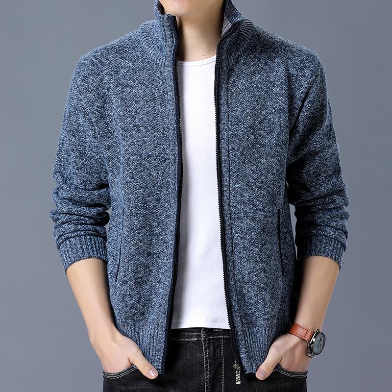 男士修身开衫外套 秋冬新款纯色羊毛衫 立领加绒加厚夹克针织衫潮