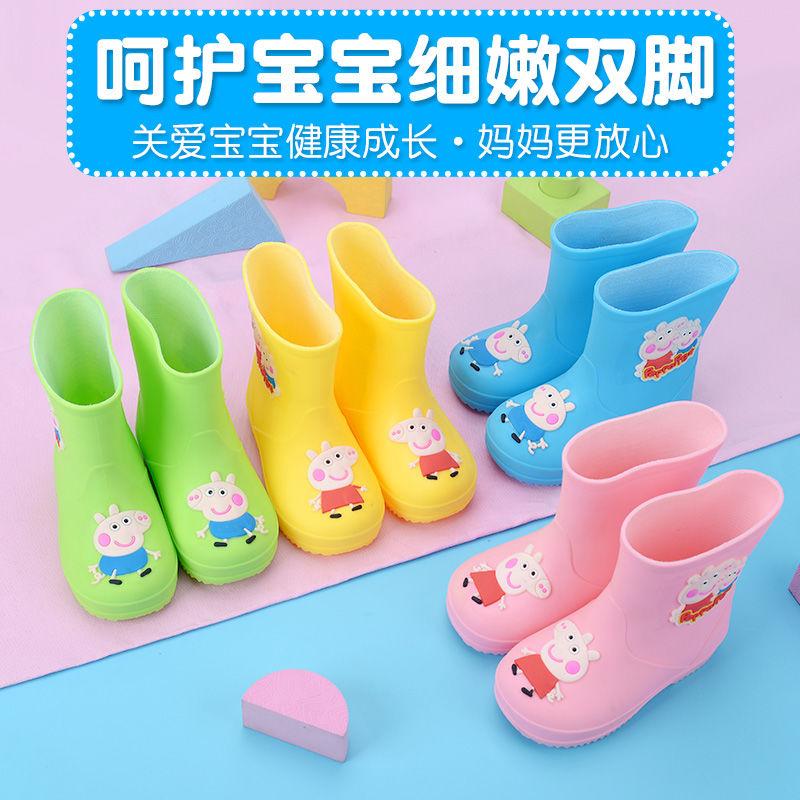 小猪宝宝童雨鞋男童女童雨靴防滑保暖小童水鞋幼儿胶鞋可爱卡通男