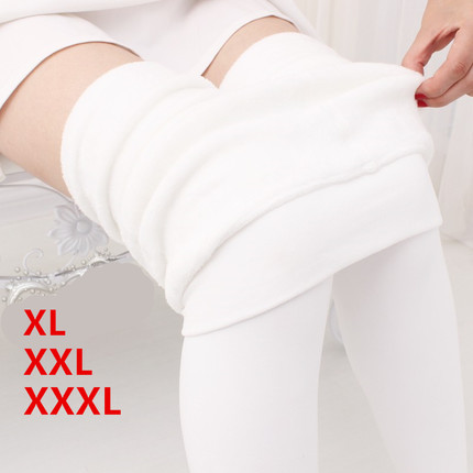 加绒加厚春秋冬款踩脚连裤袜丝袜加长加肥加大码打底裤外穿女白色