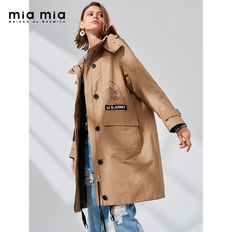 miamia2018秋装女宽松连帽中长款风衣卡其色中性大码外套872159H
