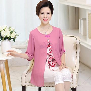 中老年女装宽松圆领假两件套装妈妈夏装薄款印花T恤打底衫40-50岁