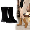 Gold Belle boots Mid Autumn winter 2017 leather flat Martin boots long tube with a single boots warm boots