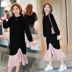 现货实拍2018秋季新款韩版宽松长款孕妇连衣裙 6631