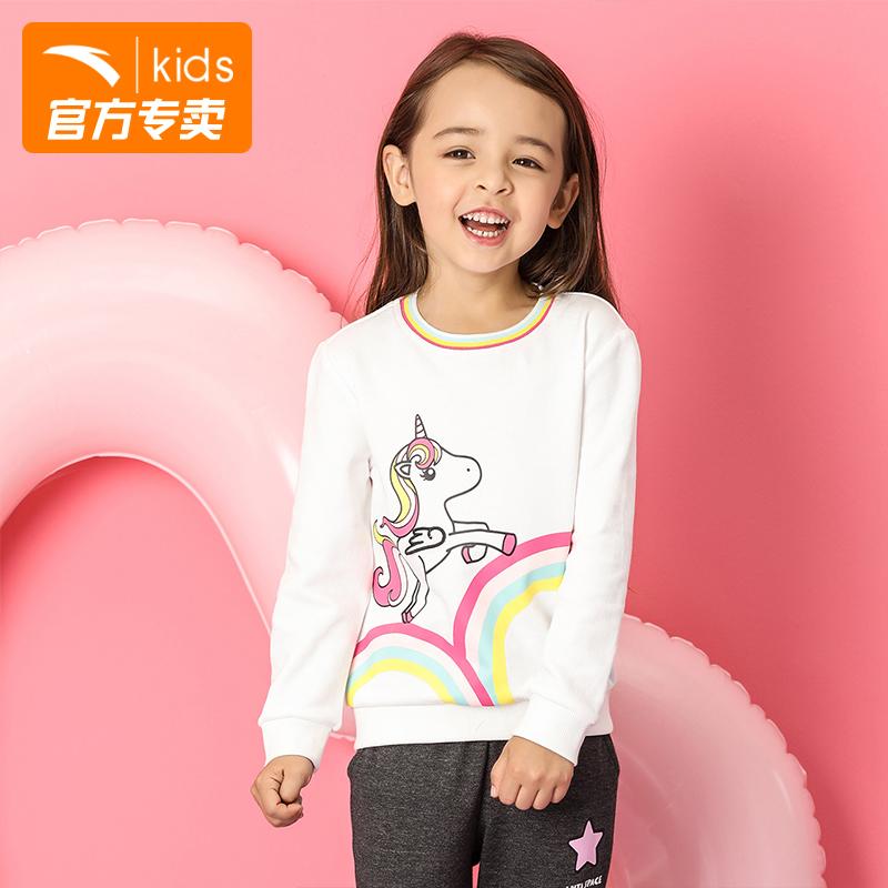安踏童装 女小童纯棉套头衫 2018新款秋装婴幼童女童卫衣36839708