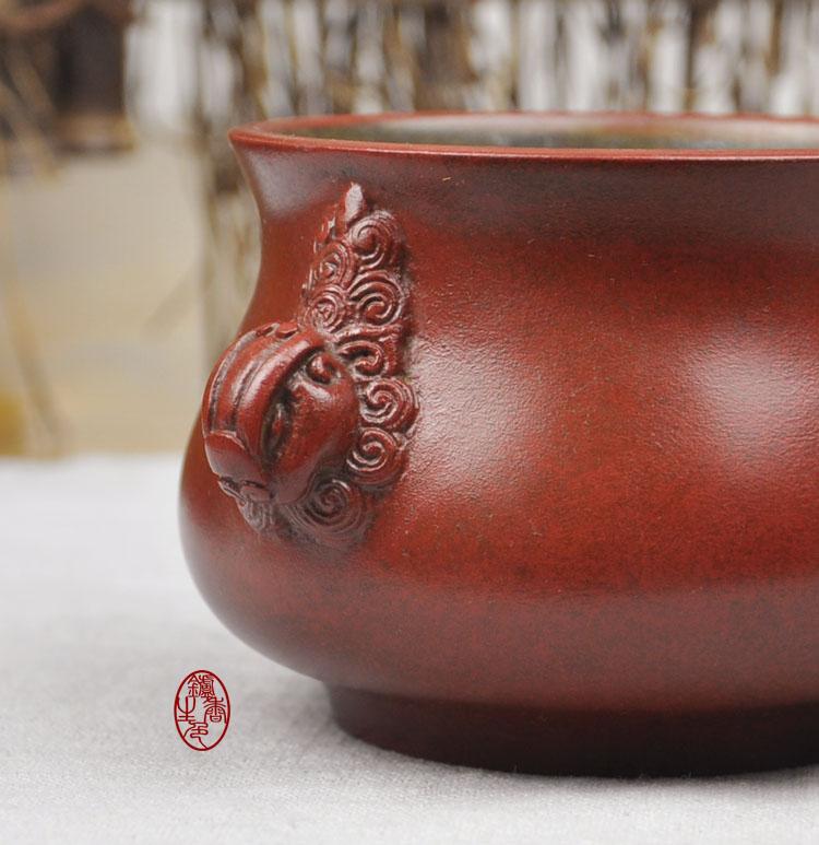 炉色生香▲陈巧生制大红袍天鸡耳彝炉佛教用品宣德炉铜香炉博物馆
