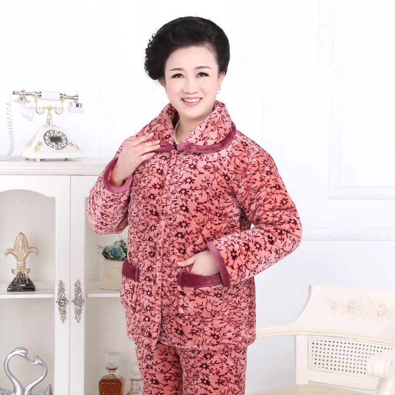 Pajamas winter three-layer thickening coral fleece quilted winter plus cashmere warm jacket woman home service coat