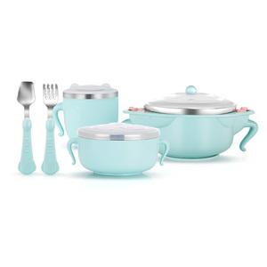 婴儿饭碗不锈钢宝宝碗勺套装防摔小孩吃饭碗叉勺儿童餐具带吸盘