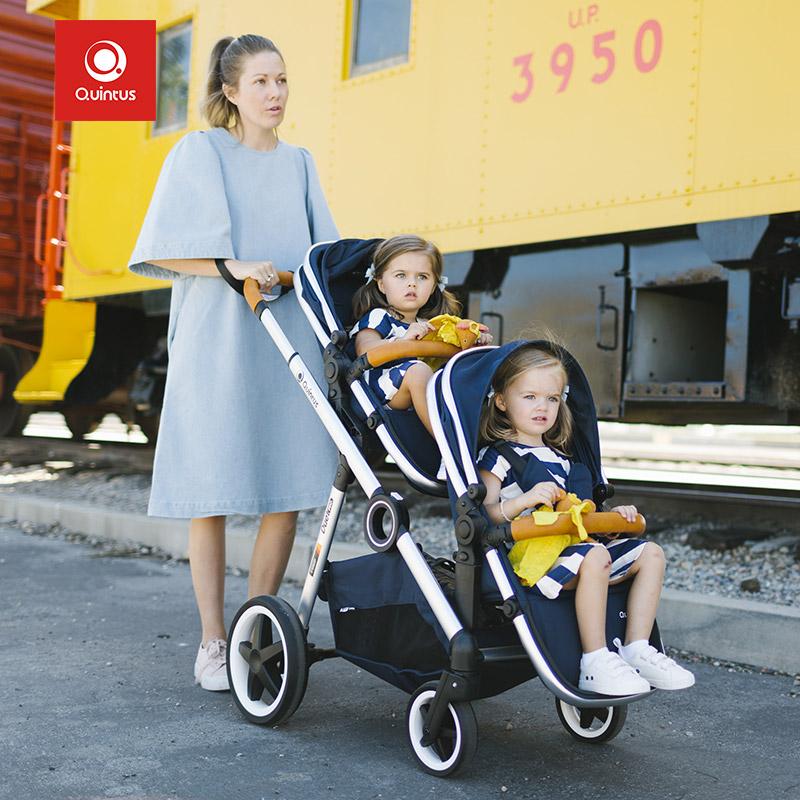 德国Qtus by quintus双胞胎婴儿推车可坐躺轻便龙凤胎双人车二娃