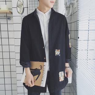 秋装2017新款港风原创潮流中长款风衣男韩版破洞衬衣韩版青年外套