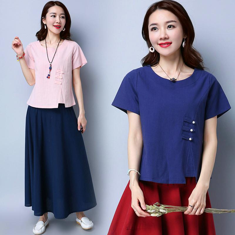 实拍2017中国古装民族风棉麻修身显瘦中式上衣T恤衫