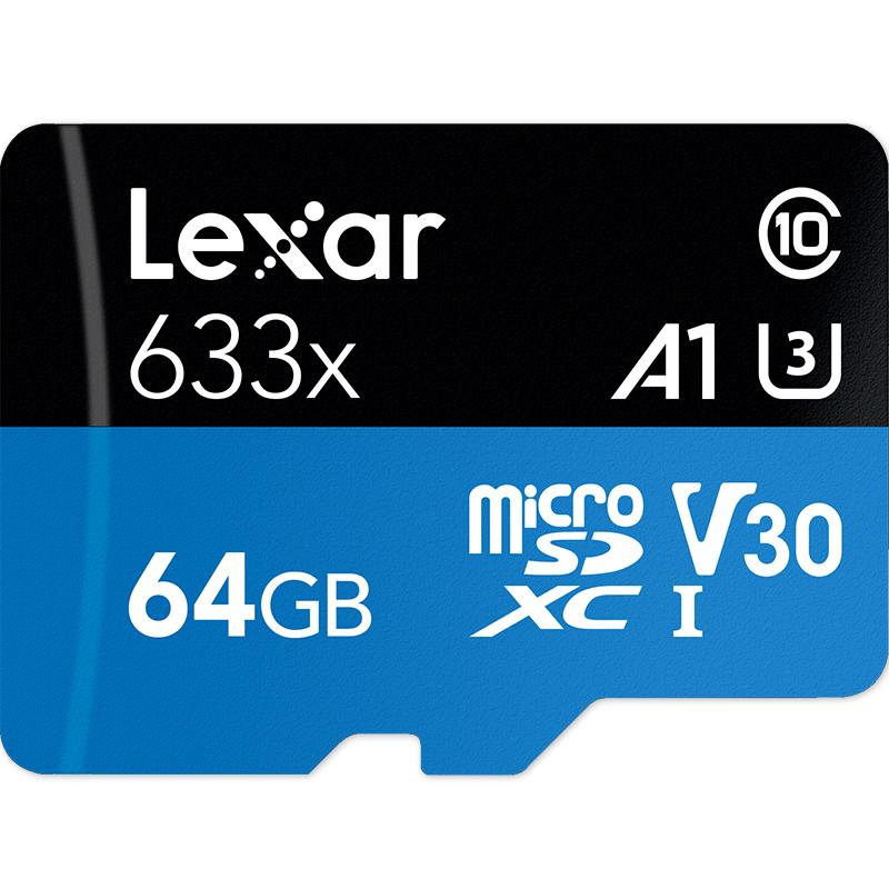 Lexar雷克沙TF卡64G 633X U3高速Gopro5-6-7运动相机microSD存储卡4K大疆行车记录仪华为手机64G内存卡95MB-s