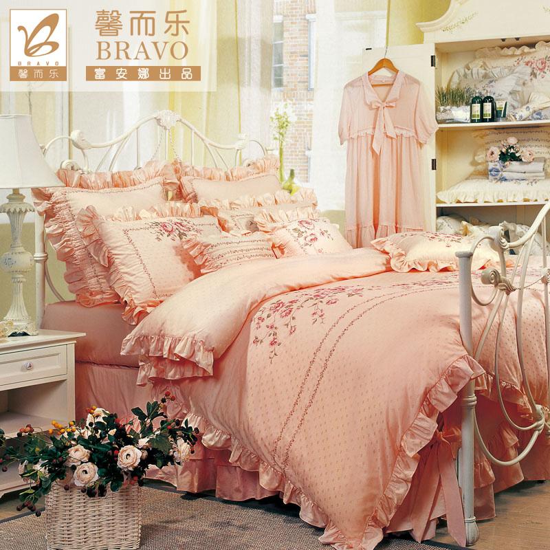 富安娜馨而乐婚庆床品结婚四件套全棉公主风纯棉套件双人1.8m床