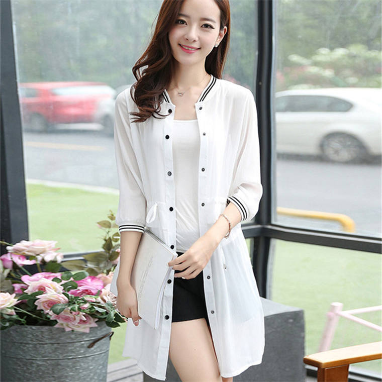 2018 summer new women's large size loose chiffon air conditioning shirt long section sun protection clothing beach cardigan thin coat