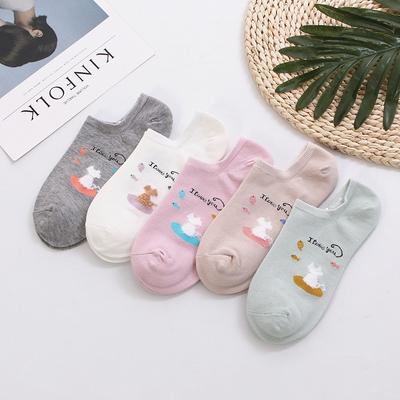 【五双装】日系船袜女纯棉隐形防滑
