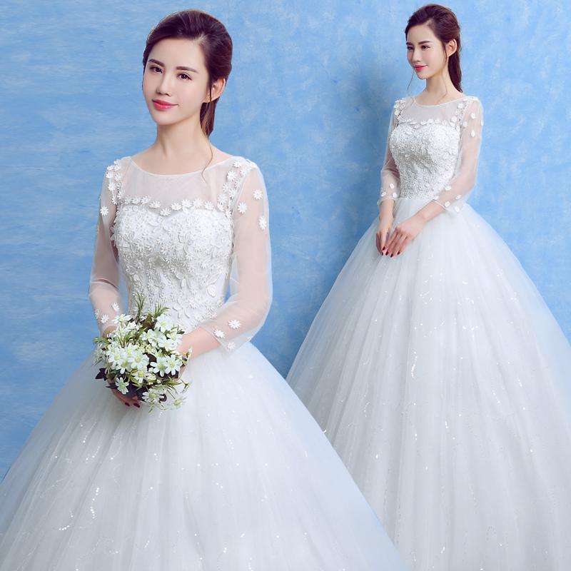 2018 new long-sleeved wedding dress Korean style bride wedding ...