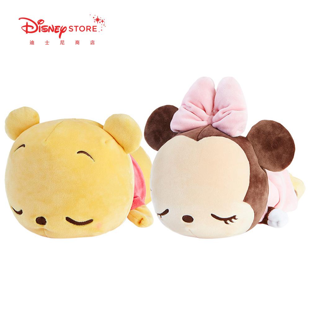 迪士尼商店 小熊维尼米妮毛绒玩具抱枕可变U形护颈枕凉感面料