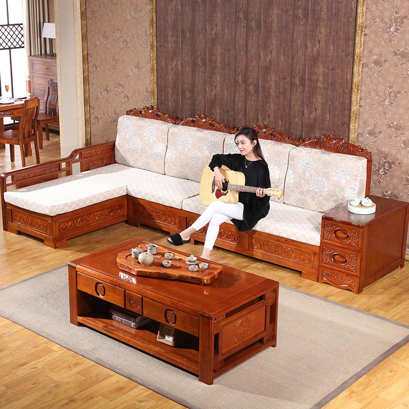 水曲柳实木沙发布艺组合客厅贵妃沙发转角纯实木欧式沙发冬夏两用_2折