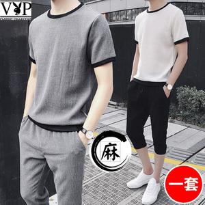 花花公子贵宾夏季休闲套装男士运动服韩版潮流T恤两件套麻七分裤