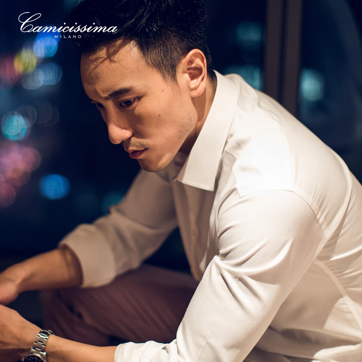 恺米切青年男士商务免烫长袖衬衫 韩版时尚修身白色衬衣秋冬款