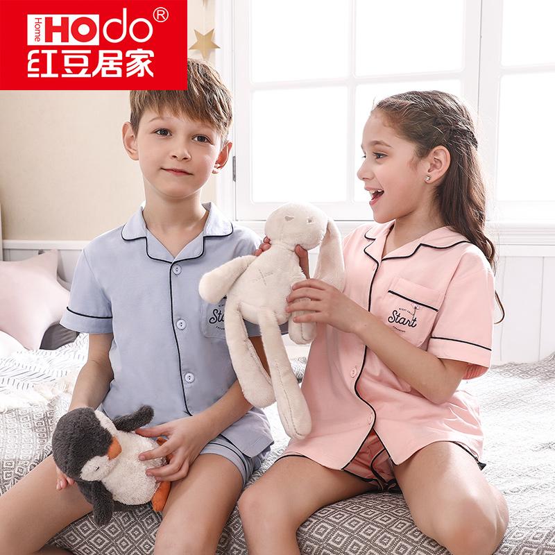 儿童短袖套装夏薄款短裤纯棉中大童睡衣全棉男孩女童家居服童装