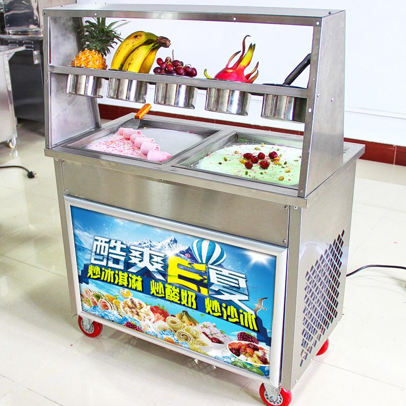 炒酸奶机商用炒冰机双锅全自动多功能冰激凌机方锅炒冰淇淋卷机器