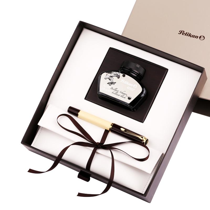 順豐德國Pelikan百利金M200活塞上墨樹脂筆身鋼筆成人商務練字墨水筆24K鍍金尖奶油咖啡禮盒裝鋼筆刻字